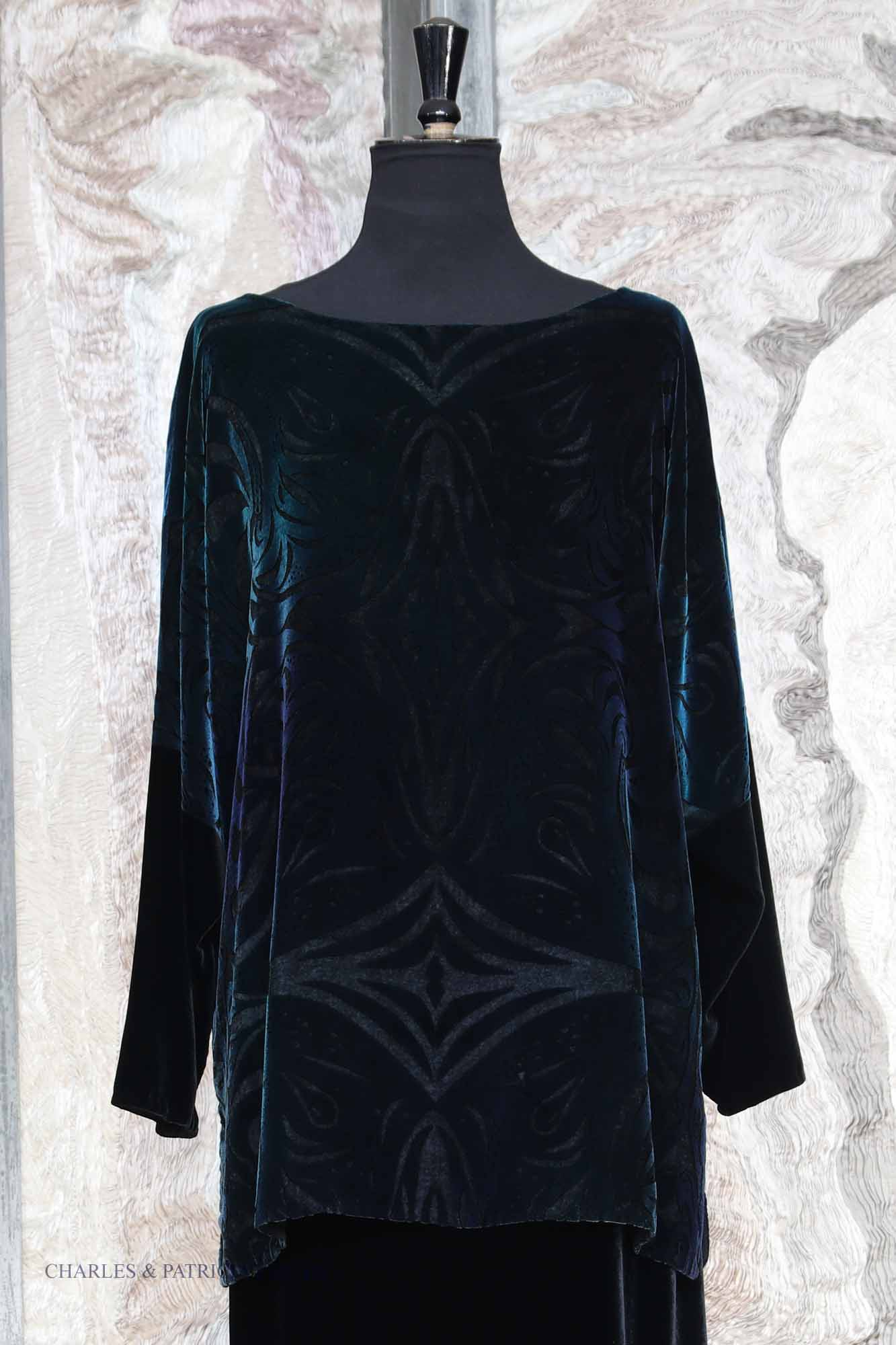 Silk and Viscose Velvet Tabard Top in Black and Peacock with QEH Embossed Print
