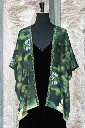 Silk Crepe de Chine Vivaldi Jacket with digitally printed Lilies photograph by Charles Lester