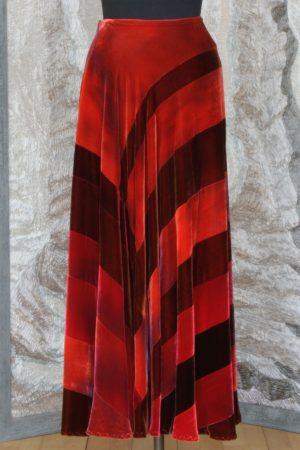 Patchwork Full Bias Skirt in Mixed Embers Silk and Viscose Velvet