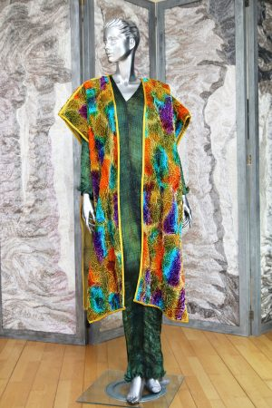 Kiss Coat in Luxurious Hand Ruckled Silk and Viscose Velvet in Klimt Patch Gold