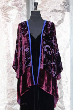Square Eloise Jacket in Luscious Purple Silk and Viscose Luxury Velvet with Mediaeval Leaf Devore Print