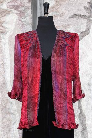 Venice Coat in Claret Rainbow,  Swirl beaded yoke with Rain beading
