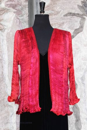 Hand Pleated Silk Jacket in Mixed Reds with Beaded Details