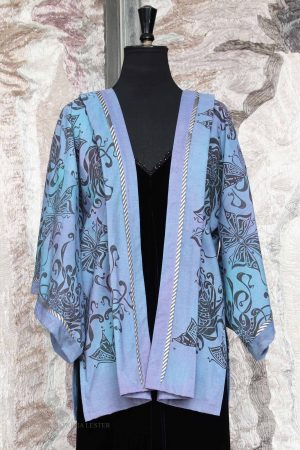 Akiyama Kimono Jacket in Faded Hydrangea Blue Cotton with Butterfly & Chrysanthemum Pigment Print