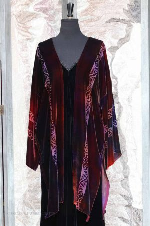 Krystal Coat in Claret Embers with Indian Leaf Stripe Devore on Silk Viscose Velvet