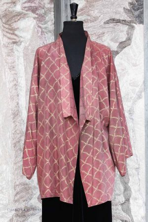 Kiko Jacket in Vampire Rose Silk with Shell Lattice Gold Print