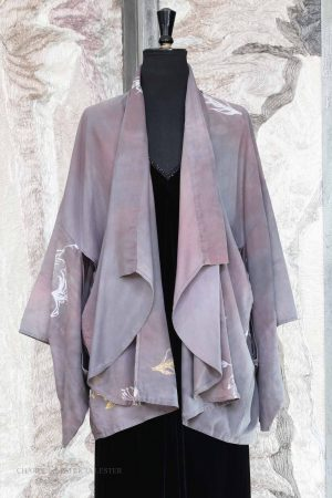 Kasumi Kimono Jacket in Hand Painted Lavender Slate Fine Cotton with Gold and Phantom Lily Print