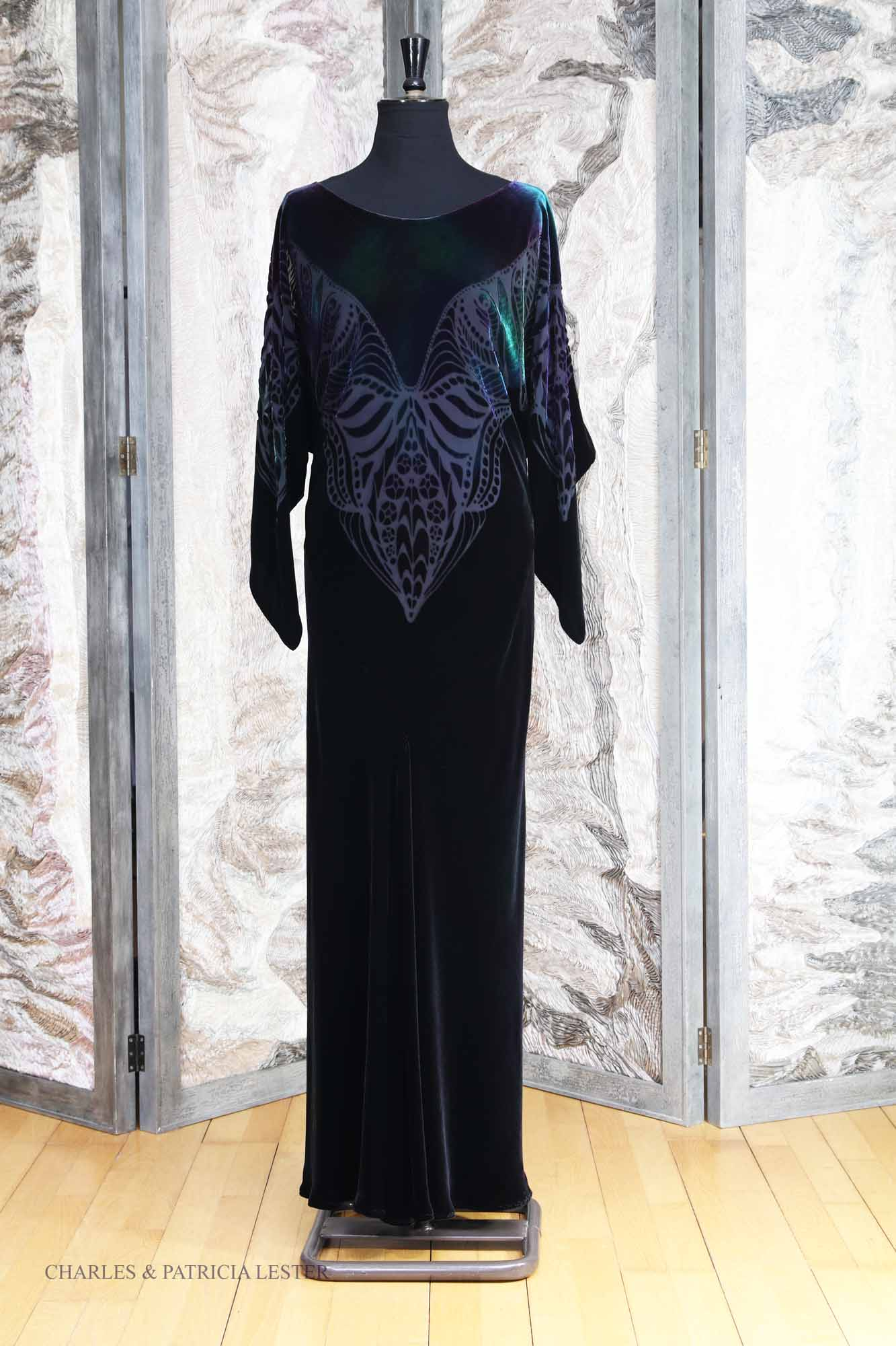 Lady Jane Dress in Black and Ravenswing Silk and Viscose Velvet with Phoenix Devore
