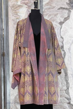 Yoshi Kimono – Faded Damson  – hand-painted Cotton – Gold-print – Indian-Leaf