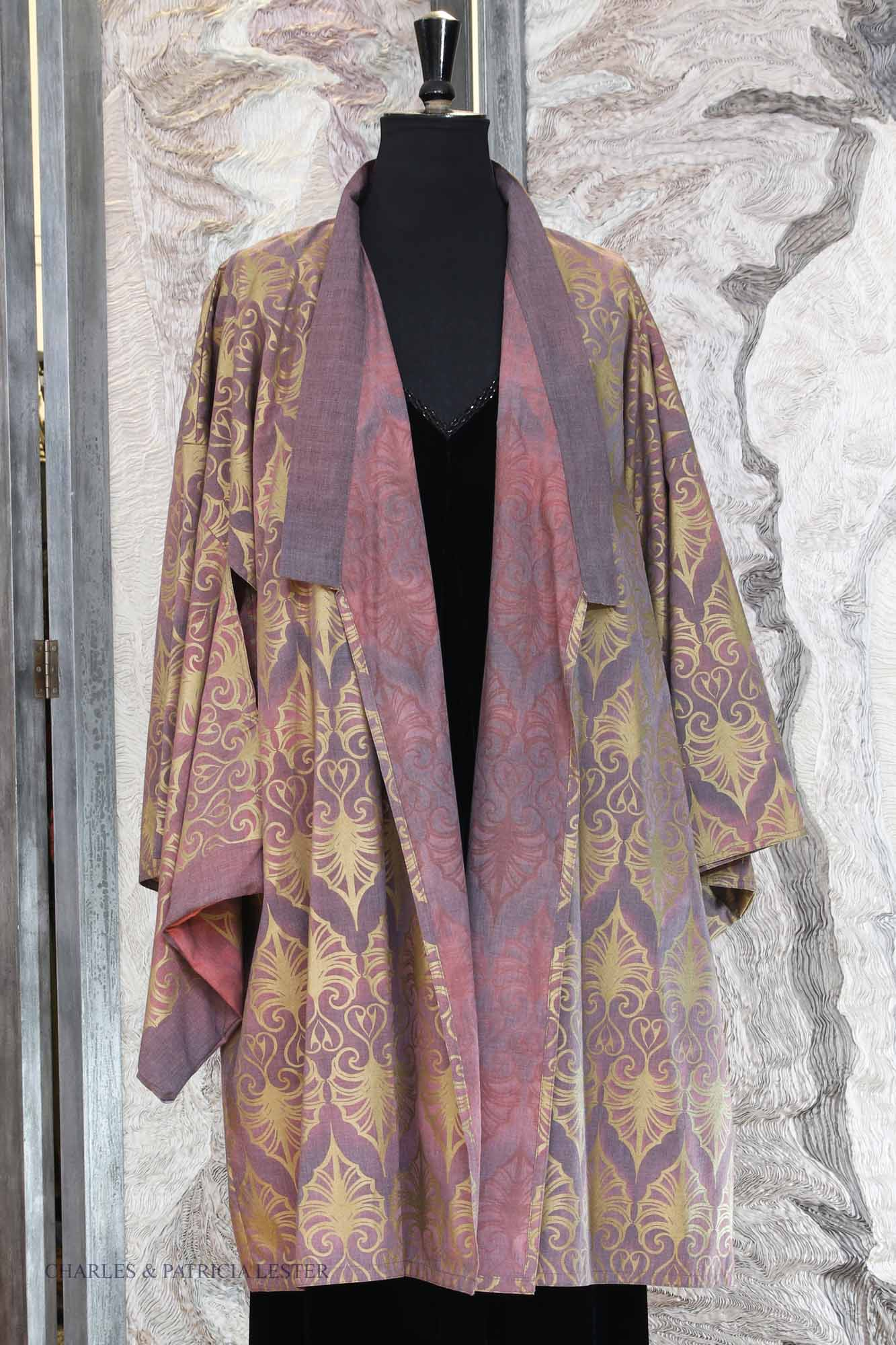 Yoshi Kimono in Damson Cotton with Indian Leaf Gold Print