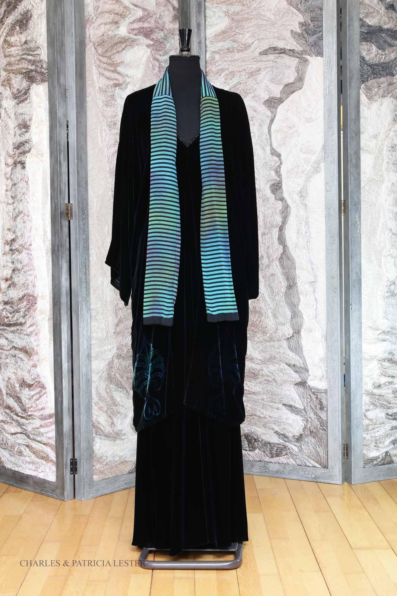 Scarf Coat with Tie in Black and Peacock Velvet with Stripe Phantom Print