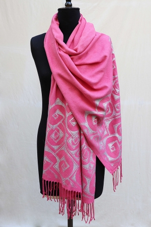 Pashmina Shawl in Soft Lipstick Pink with Cube Print in silver