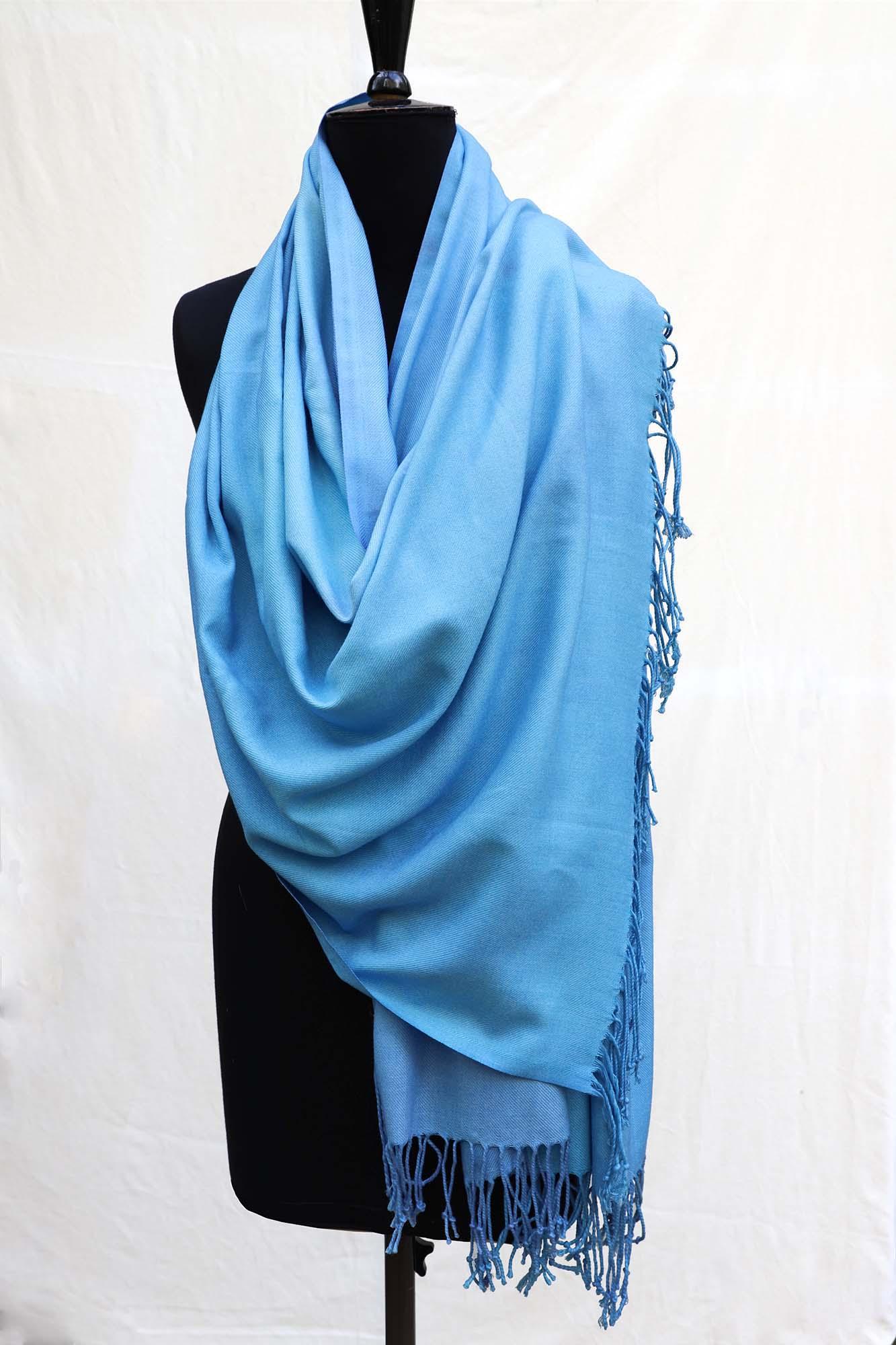 Pashmina Shawl in Soft Enamel Blue