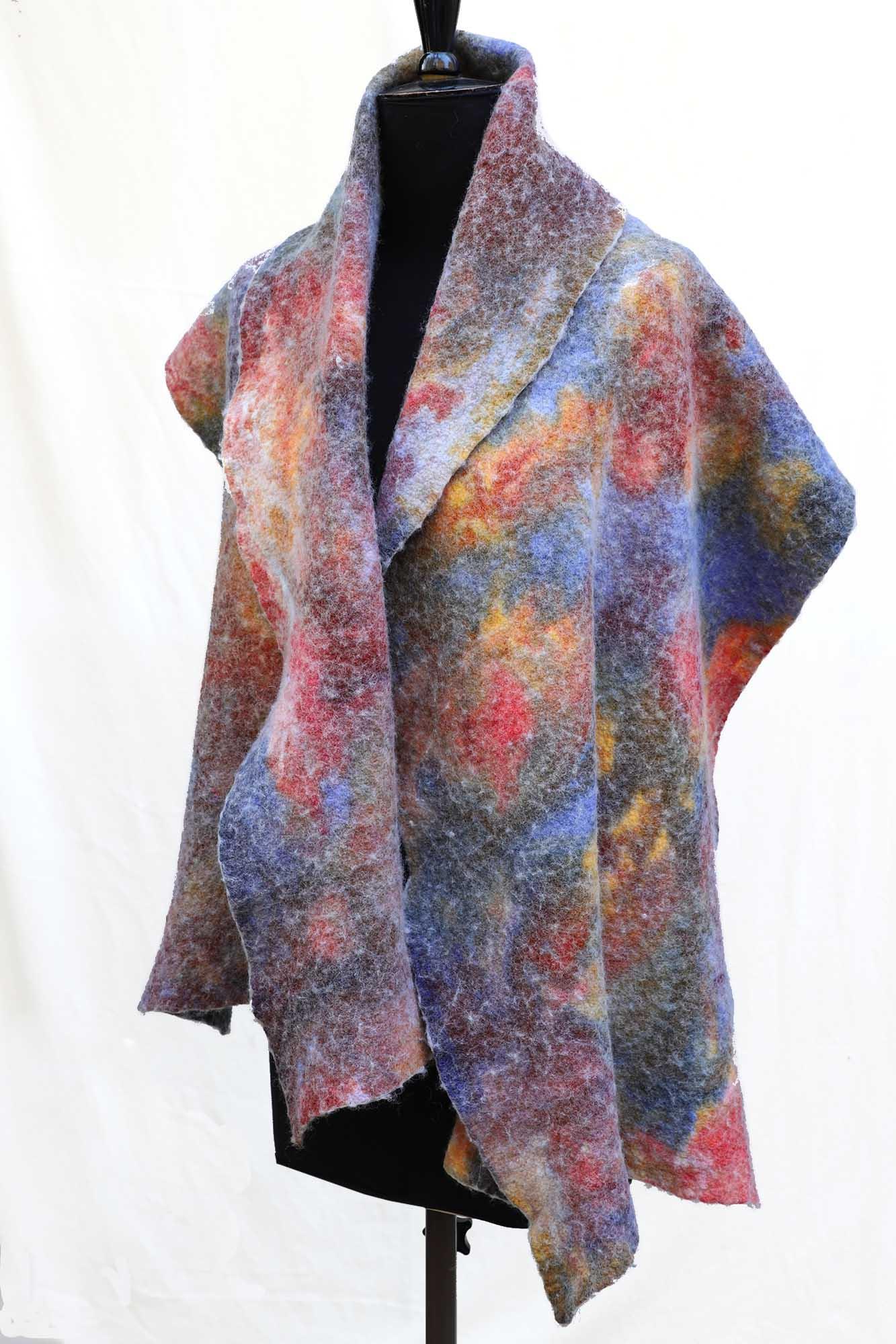 Shawl – felted wool – hand marbled – luxury wrap