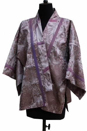 Asuka Kimono Jacket in Slub Silk Taffeta in Birch Bark Purple