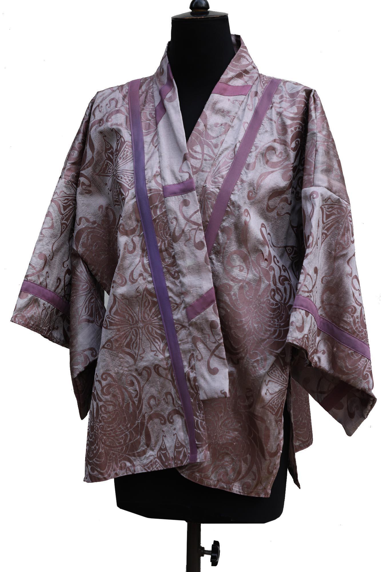 Asuka Kimono Jacket in Slub Silk Taffeta in Birch Bark Purple