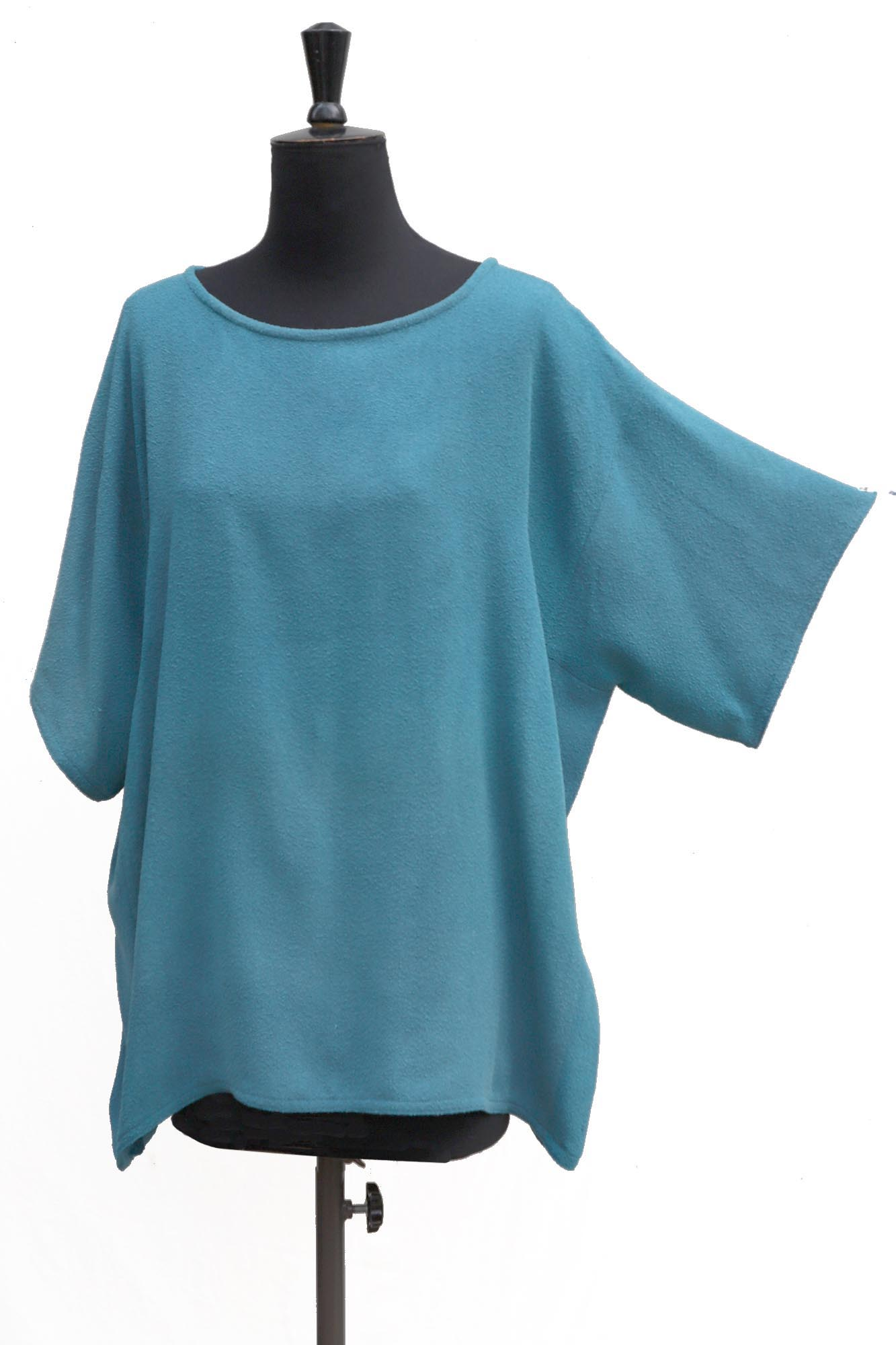 Overblouse in Textured Woven Silk in Soft Leighton Blue