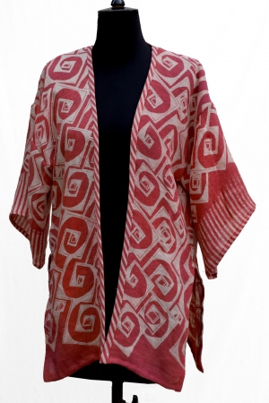 Adrianna Jacket in Linen Mix in Red Rose Coral with Cube Phantom Print