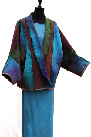Jelena Felted Wool and Silk Jacket in Tropical Jungle Pool