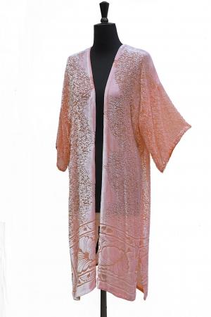 Eldora Coat Luxury Velvet Peach Rose devore print