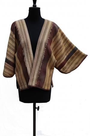 Genevieve Jacket stripe weave Silk Noil caramel fringe detail damson silk trim